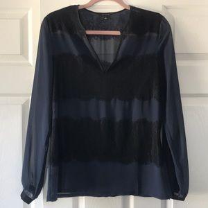 Ann Taylor Sheer Navy Black Lace Blouse